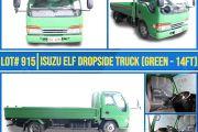 LOT 915 ISUZU ELF DROPSIDE TRUCK (GREEN 14FT)